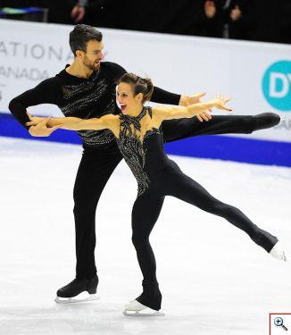 Los canadienses Meagan Duhamel y Eric Radford lideran la competencia en pareja después del programa corto. Foto cortesía Skate Canada/Stephan Potopnyk