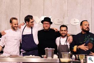 """Los cinco chefs del Food Clash Canteen """"Ven a Comer"""" que deleitaron los paladares: Manuel Shmuck, Daniel Achilles, Maximilian Strohe, Raúl Oliver y Ricardo Muñoz Zurita. Foto cortesía Berlin Food Week"""